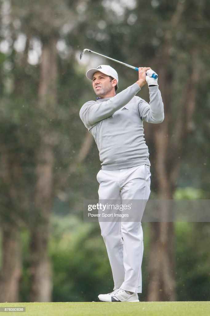 Sergio Garcia of Spain plays a shot during round two of the UBS Hong Kong Open at The Hong Kong Golf Club on November 24, 2017 in Hong Kong, Hong Kong.