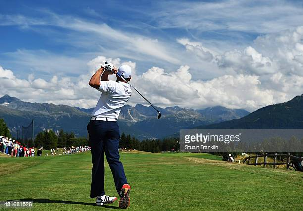 Sergio Garcia of Spain plays a shot during the first round of the Omega European Masters at CranssurSierre Golf Club on July 23 2015 in CransMontana...
