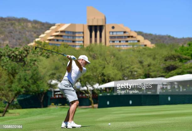 Sergio Garcia of Spain plays a shot during the pro am prior to the Nedbank Golf Challenge at Gary Player CC on November 7 2018 in Sun City South...