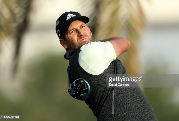 Sergio Garcia of Spain plays a shot during the proam as a preview for the Omega Dubai Desert Classic on the Majlis Cours at Emirates Golf Club on...