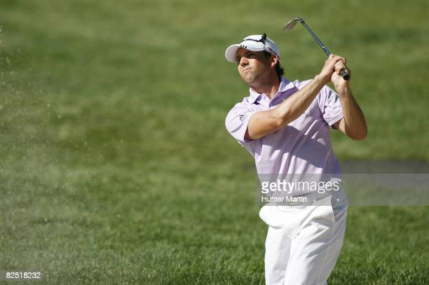 Sergio Garcia of Spain plays a shot during the second round of The Barclays at Ridgewood Country Club on August 22 2008 in Paramus New Jersey