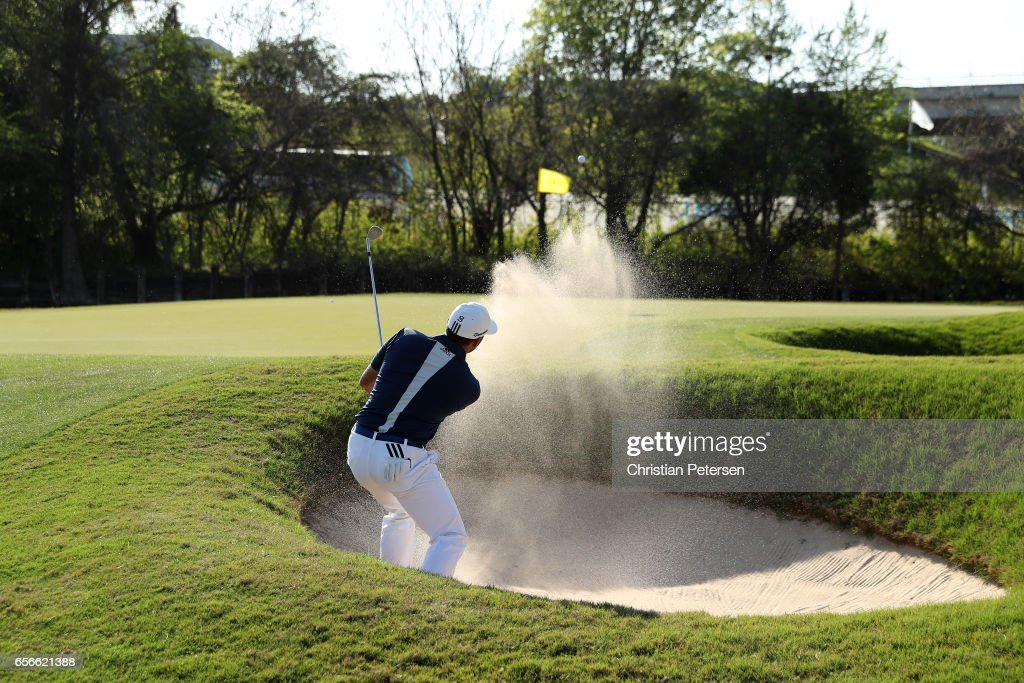 Sergio Garcia of Spain plays a shot from a bunker on the 12th hole of his match during round one of the World Golf Championships-Dell Technologies Match Play at the Austin Country Club on March 22, 2017 in Austin, Texas.