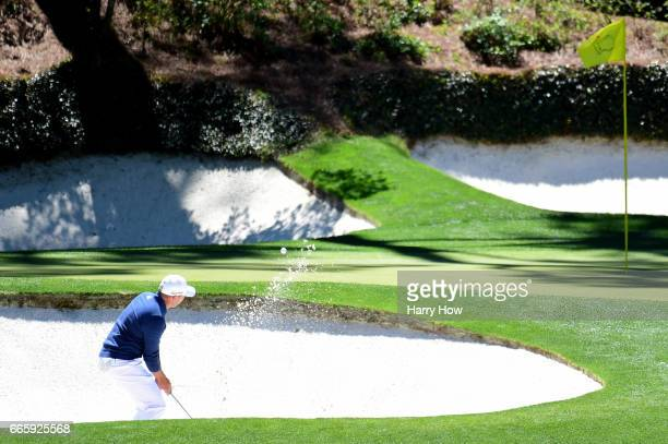 Sergio Garcia of Spain plays a shot from a bunker on the 12th hole during the second round of the 2017 Masters Tournament at Augusta National Golf...