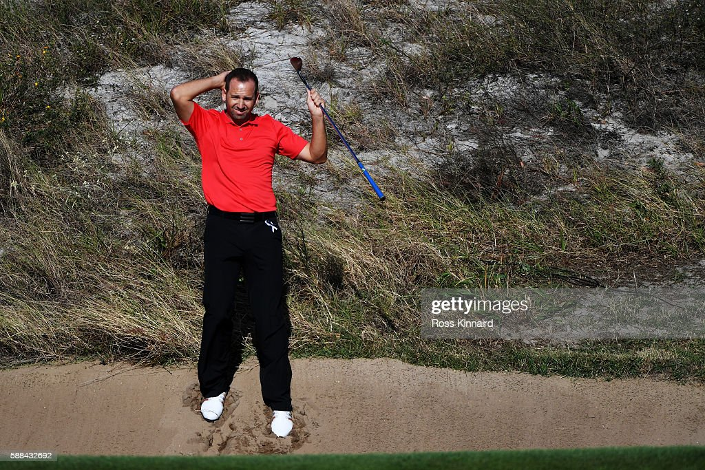 Sergio Garcia of Spain plays a shot from a bunker on the 16th hole during the first round of men's golf on Day 6 of the Rio 2016 Olympics at the Olympic Golf Course on August 12, 2016 in Rio de Janeiro, Brazil.