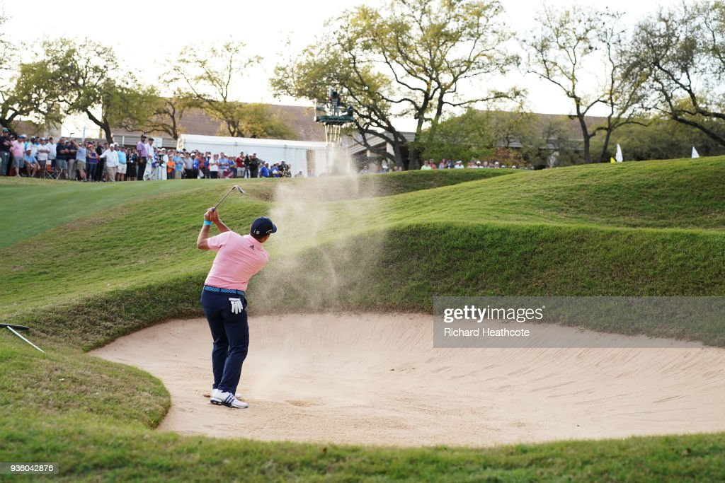 Sergio Garcia of Spain plays a shot from a bunker on the 18th hole during the first round of the World Golf Championships-Dell Match Play at Austin Country Club on March 21, 2018 in Austin, Texas.