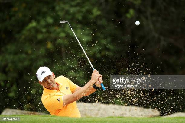 Sergio Garcia of Spain plays a shot from a bunker on the fourth hole during the third round of the World Golf ChampionshipsDell Match Play at Austin...