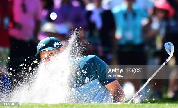 Sergio Garcia of Spain plays a shot from a bunker on the seventh hole during the final round of the 2017 Masters Tournament at Augusta National Golf...