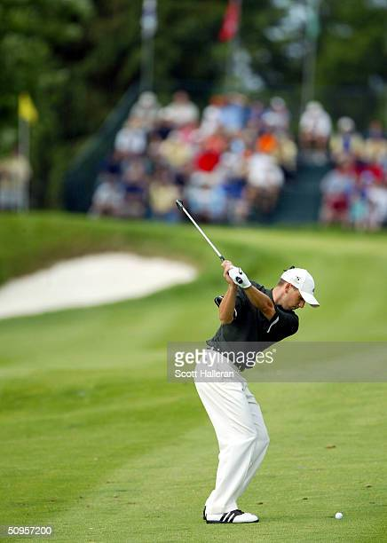 Sergio Garcia of Spain plays a shot into the 17th green during the final round of the Buick Classic at the Westchester Country Club on June 13 2004...