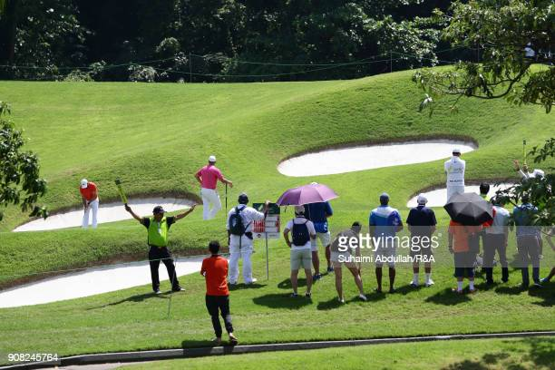 Sergio Garcia of Spain plays a shot on hole seven during round four on day four of the Singapore Open at Sentosa Golf Club on January 20 2018 in...