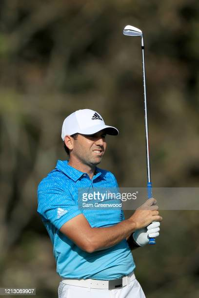 Sergio Garcia of Spain plays a shot on the 14th hole during the first round of The PLAYERS at the TPC Stadium course on March 12 2020 in Ponte Vedra...
