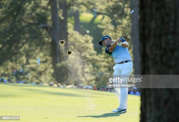 Sergio Garcia of Spain plays a shot on the 17th hole during the final round of the 2017 Masters Tournament at Augusta National Golf Club on April 9...