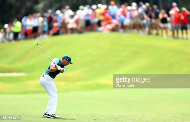 Sergio Garcia of Spain plays a shot on the fifth hole during the third round of THE PLAYERS Championship at the Stadium course at TPC Sawgrass on May...