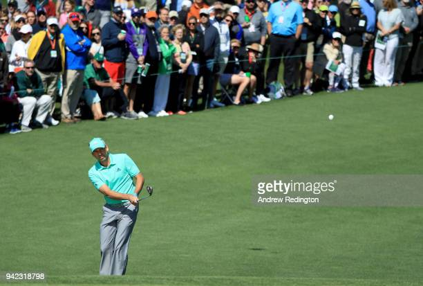 Sergio Garcia of Spain plays a shot on the second hole during the first round of the 2018 Masters Tournament at Augusta National Golf Club on April 5...