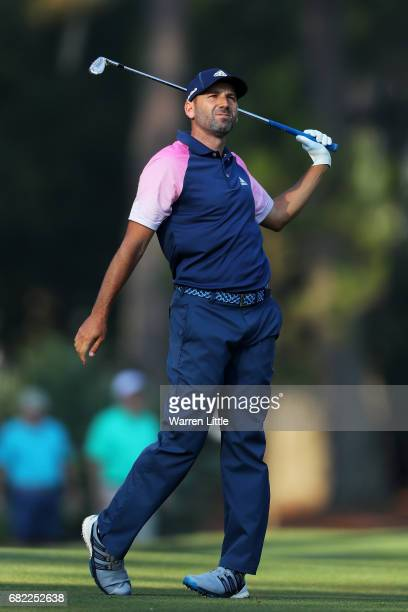 Sergio Garcia of Spain plays a shot on the tenth hole during the second round of THE PLAYERS Championship at the Stadium course at TPC Sawgrass on...