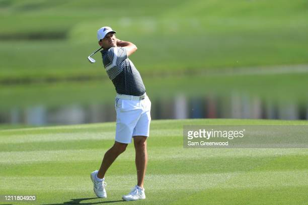 Sergio Garcia of Spain plays an approach shot during a practice round prior to The PLAYERS Championship on The Stadium Course at TPC Sawgrass on...