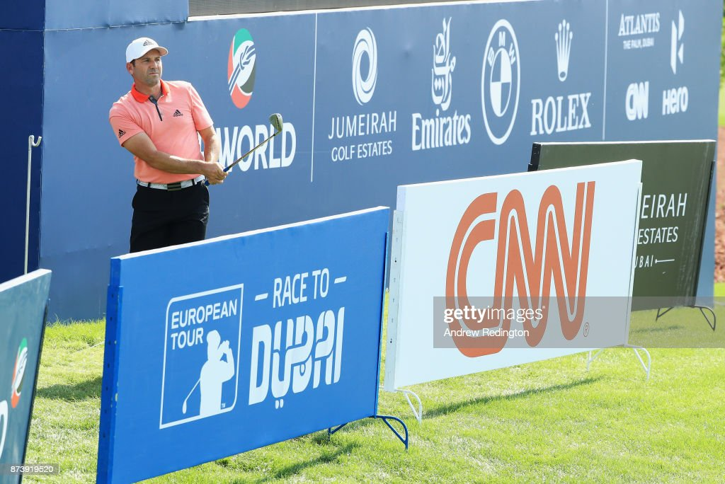 Sergio Garcia of Spain plays from behind the advertisement boards on the 18th hole during the Pro-Am prior to the DP World Tour Championship at Jumeirah Golf Estates on November 14, 2017 in Dubai, United Arab Emirates.