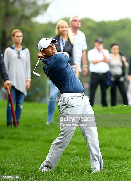 Sergio Garcia of Spain plays from the rough on the 6th during the second round of the 2014 Turkish Airlines Open at The Montgomerie Maxx Royal on...