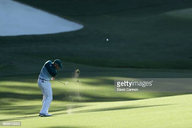Sergio Garcia of Spain plays his fourth shot on the 15th hole during the final round of the 2017 Masters Tournament at Augusta National Golf Club on...