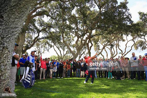 Sergio Garcia of Spain plays his second shot from the rough on the 1st hole during day three of the Open de Espana at Real Club Valderrama on April...