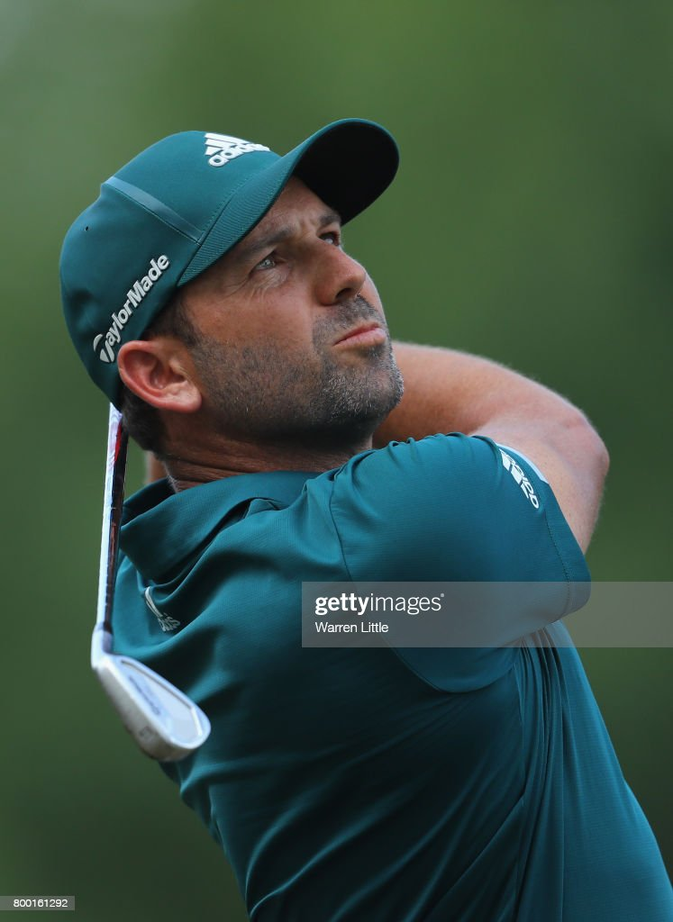 Sergio Garcia of Spain plays his second shot into the 10th green during the second round of the BMW International Open at Golfclub Munchen Eichenried on June 23, 2017 in Munich, Germany.