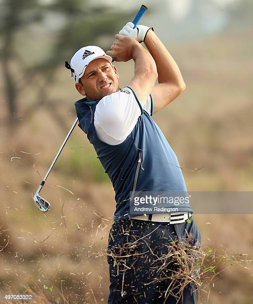 Sergio Garcia of Spain plays his second shot on the 14th hole during the third round of the BMW Masters at Lake Malaren Golf Club on November 14 2015...