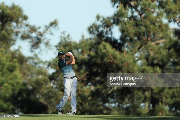 Sergio Garcia of Spain plays his second shot on the 15th hole during the final round of the 2017 Masters Tournament at Augusta National Golf Club on...