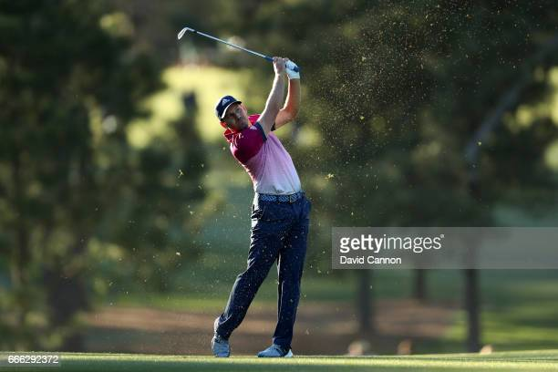 Sergio Garcia of Spain plays his second shot on the 17th hole during the third round of the 2017 Masters Tournament at Augusta National Golf Club on...