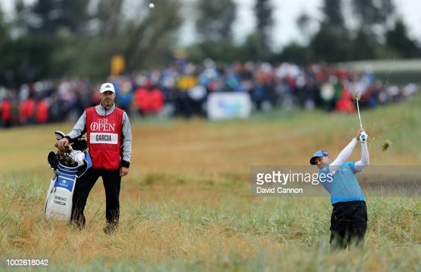 Sergio Garcia of Spain plays his second shot on the 18th hole during the second round of the 147th Open Championship at Carnoustie Golf Club on July...