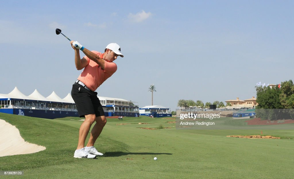 Sergio Garcia of Spain plays his second shot on the 18th hole during the Pro-Am prior to the DP World Tour Championship at Jumeirah Golf Estates on November 14, 2017 in Dubai, United Arab Emirates.