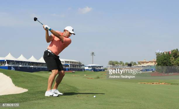 Sergio Garcia of Spain plays his second shot on the 18th hole during the ProAm prior to the DP World Tour Championship at Jumeirah Golf Estates on...