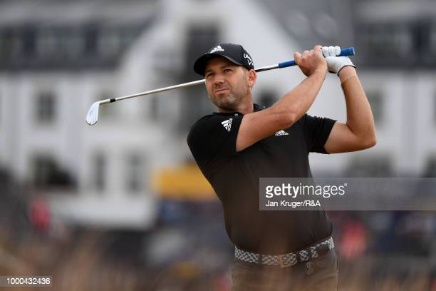 Sergio Garcia of Spain plays his second shot on the 1st hole while practicing during previews to the 147th Open Championship at Carnoustie Golf Club...