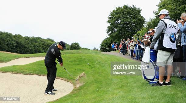 Sergio Garcia of Spain plays his second shot on the 3rd hole during day three of the BMW International Open at Golf Club Gut Larchenhof on June 23...