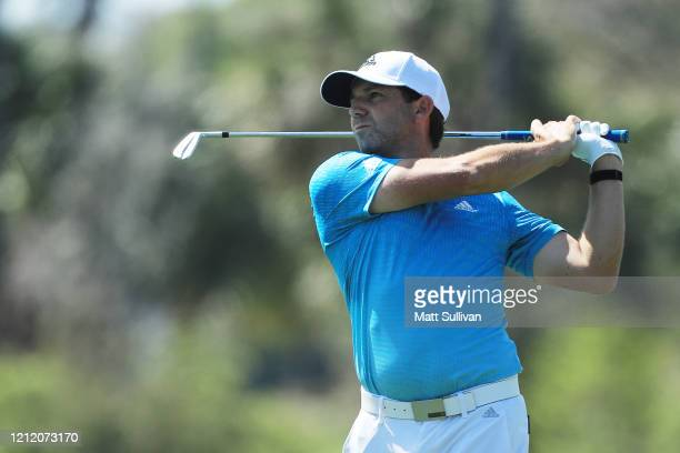 Sergio Garcia of Spain plays his second shot on the fourth hole during the first round of The PLAYERS Championship on The Stadium Course at TPC...