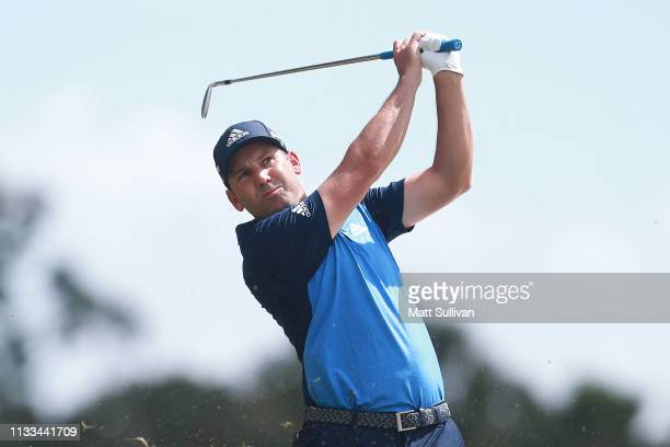 Sergio Garcia of Spain plays his second shot on the second hole during the final round of the Honda Classic at PGA National Resort and Spa on March...