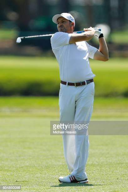 Sergio Garcia of Spain plays his second shot on the second hole during the final round of the Valspar Championship at Innisbrook Resort Copperhead...