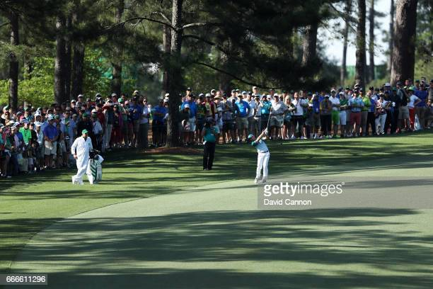 Sergio Garcia of Spain plays his second shot on the tenth hole during the final round of the 2017 Masters Tournament at Augusta National Golf Club on...