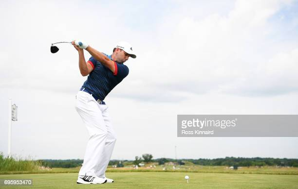 Sergio Garcia of Spain plays his shot during a practice round prior to the 2017 US Open at Erin Hills on June 14 2017 in Hartford Wisconsin