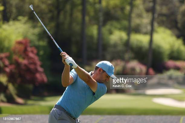 Sergio Garcia of Spain plays his shot from the 12th tee during a practice round prior to the Masters at Augusta National Golf Club on April 05, 2021...