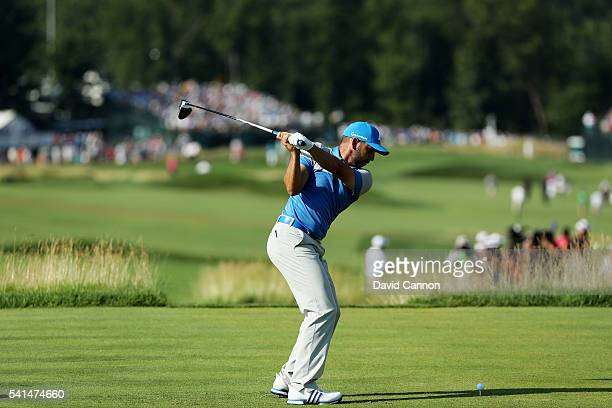 Sergio Garcia of Spain plays his shot from the 12th tee during the final round of the US Open at Oakmont Country Club on June 19 2016 in Oakmont...