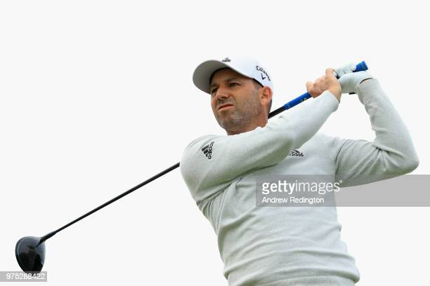 Sergio Garcia of Spain plays his shot from the 12th tee during the second round of the 2018 US Open at Shinnecock Hills Golf Club on June 15 2018 in...