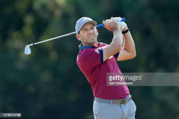 Sergio Garcia of Spain plays his shot from the 13th tee during the third round of the Sanderson Farms Championship at The Country Club of Jackson on...