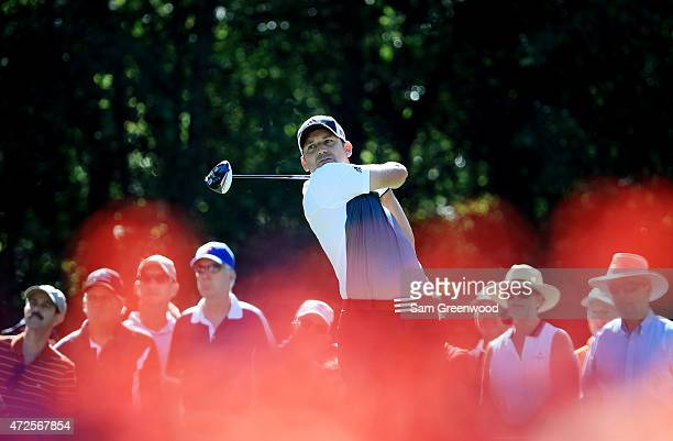 Sergio Garcia of Spain plays his shot from the 15th tee during round two of THE PLAYERS Championship at the TPC Sawgrass Stadium course on May 8 2015...