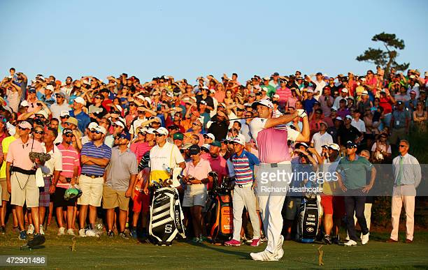 Sergio Garcia of Spain plays his shot from the 18th tee during a playoff in the final round of THE PLAYERS Championship at the TPC Sawgrass Stadium...