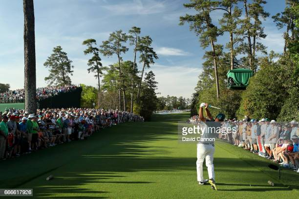 Sergio Garcia of Spain plays his shot from the 18th tee during the final round of the 2017 Masters Tournament at Augusta National Golf Club on April...