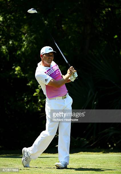 Sergio Garcia of Spain plays his shot from the fifth tee during the final round of THE PLAYERS Championship at the TPC Sawgrass Stadium course on May...