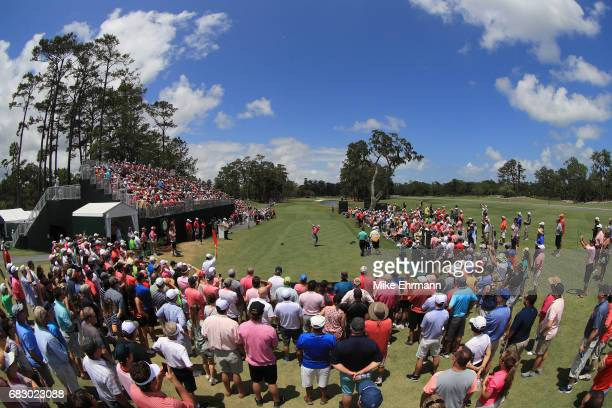 Sergio Garcia of Spain plays his shot from the first tee during the final round of THE PLAYERS Championship at the Stadium course at TPC Sawgrass on...