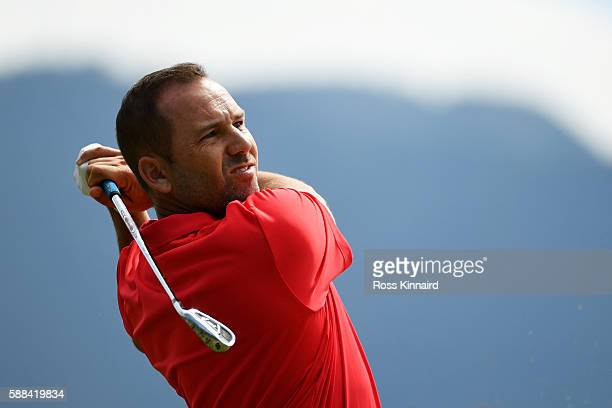 Sergio Garcia of Spain plays his shot from the fourth tee during the first round of men's golf on Day 6 of the Rio 2016 Olympics at the Olympic Golf...