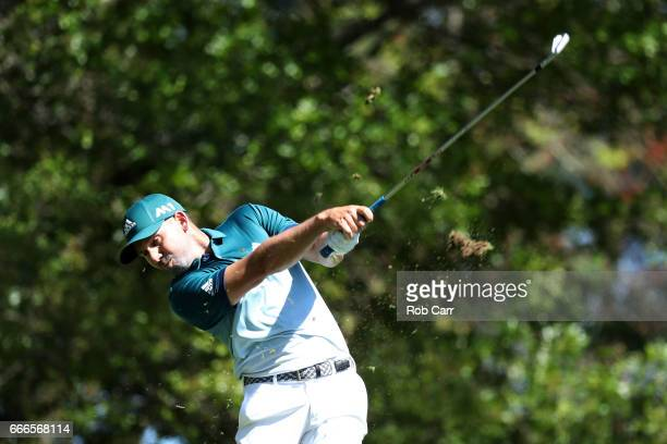 Sergio Garcia of Spain plays his shot from the fourth tee during the final round of the 2017 Masters Tournament at Augusta National Golf Club on...