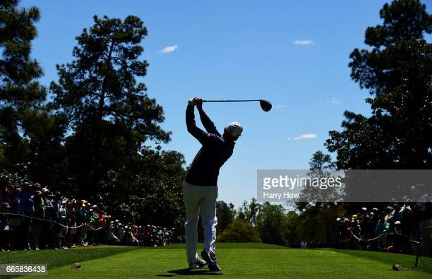 Sergio Garcia of Spain plays his shot from the ninth tee during the second round of the 2017 Masters Tournament at Augusta National Golf Club on...
