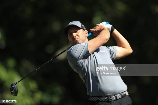 Sergio Garcia of Spain plays his shot from the ninth tee during the second round of the Valspar Championship at Innisbrook Resort Copperhead Course...